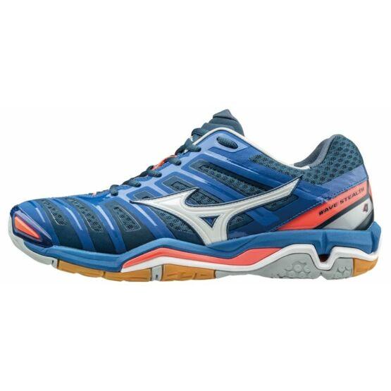Mizuno cipő Stealth 4 kék, fehér, korall, unisex