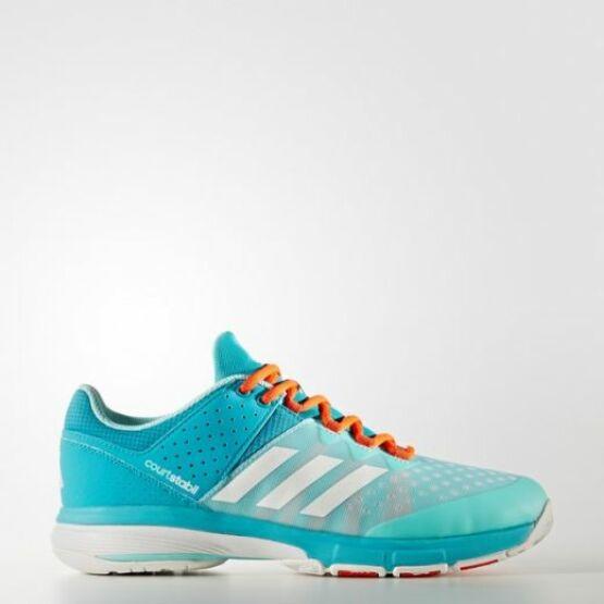 Adidas Court Stabil 13 unisex kézilabdás cipő, világoskék, kék, narancs (2017)