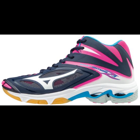 Mizuno Wave Lightning Z 3 MID röplabdás cipő, női, sötétkék, fehér, pink