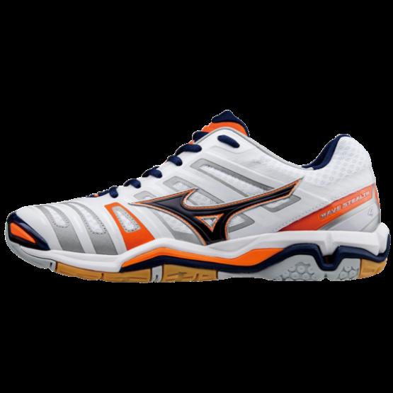 Mizuno cipő Stealth 4 fehér, narancs, kék, unisex