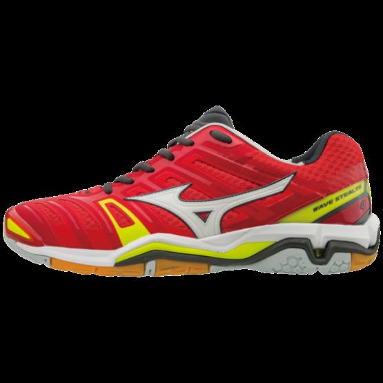 Mizuno cipő Stealth 4 kézilabdás cipő, férfi, piros, fehér, safety sárga