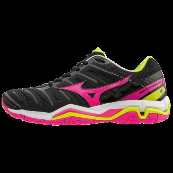 Mizuno cipő Stealth 4 kézilabdás cipő, női, fekete, pink, safety sárga