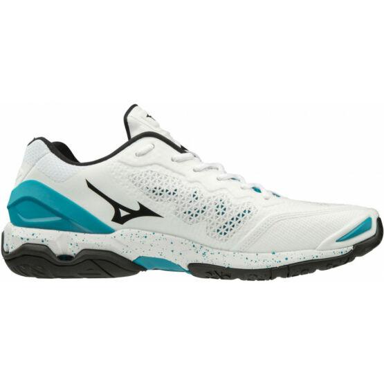 Mizuno Wave Stealth V, kézilabdás cipő, unisex, fehér-kék