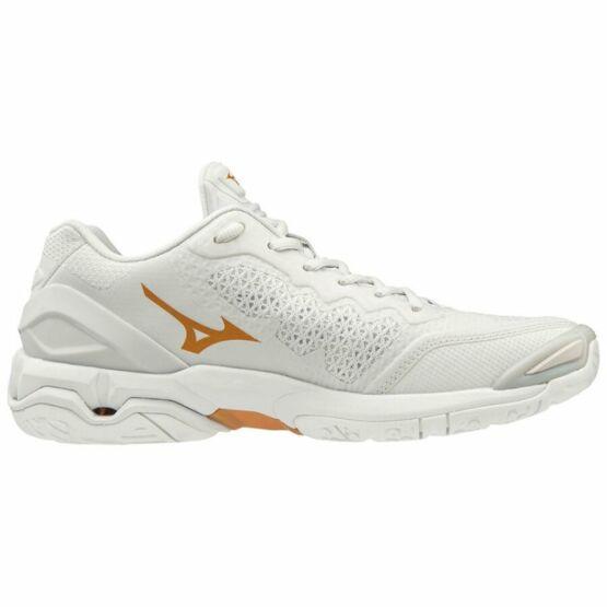 Mizuno Wave Stealth V, kézilabdás cipő, női, fehér-arany