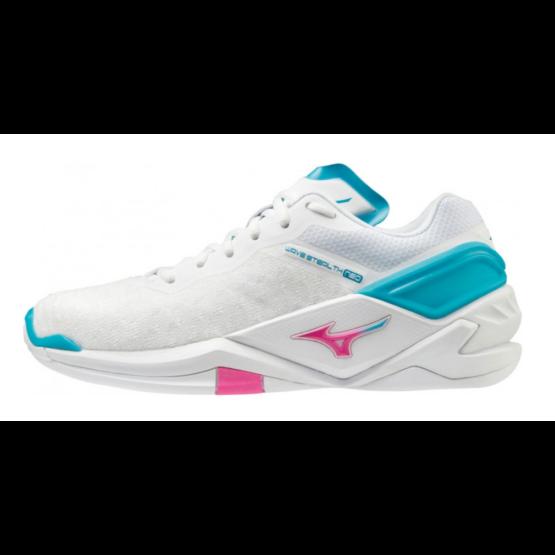 Mizuno Wave Stealth Neo, kézilabdás cipő, női, fehér/pink/kék