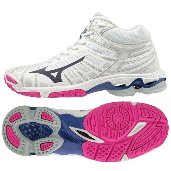Mizuno Wave Voltage MID röplabdás cipő, fehér, kék, pink